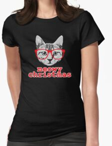 Funny Christmas - Meowy Christmas Womens Fitted T-Shirt