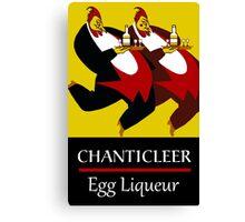 Funny chickens waiters, vintage egg liqueur ad Canvas Print