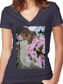 Pink Floral  Women's Fitted V-Neck T-Shirt