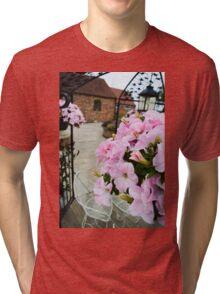 Pink Floral  Tri-blend T-Shirt