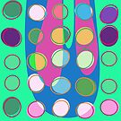 Nouveau Retro Graphic Green with Multi Colored Dots by Anthony Ross