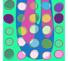 Nouveau Retro Graphic Green with Multi Colored Dots Photographic Print