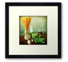 Italian recipe: noodles with pesto (basil,parmisan,garlic,olive oil,pine nuts) Framed Print