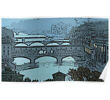 'Ponte Vecchio Blue' Poster