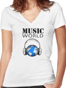 MUSIC WORLD Women's Fitted V-Neck T-Shirt
