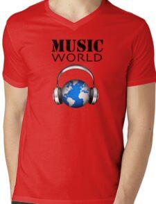 MUSIC WORLD Mens V-Neck T-Shirt