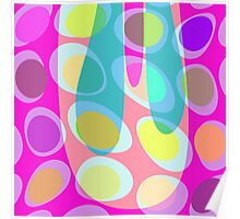 Nouveau Retro Graphic in Pink Blue and Yellow Poster