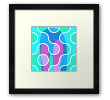 Nouveau Retro Graphic Pink Blue and Violet Framed Print