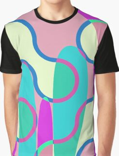 Nouveau Retro Graphic In Brown Pink and Blue Graphic T-Shirt