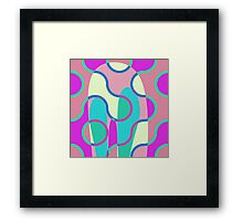 Nouveau Retro Graphic In Brown Pink and Blue Framed Print