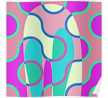 Nouveau Retro Graphic In Brown Pink and Blue Poster