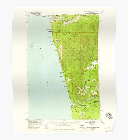 USGS Topo Map Washington State WA Destruction Island 240844 1956 62500 Poster