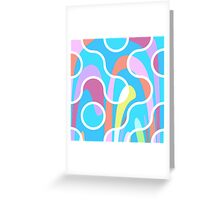 Nouveau Retro Graphic Blue Pink Orange and White Greeting Card