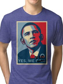 Obama. Yes we did. Tri-blend T-Shirt