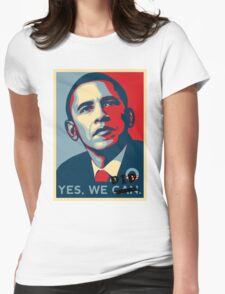Obama. Yes we did. Womens Fitted T-Shirt