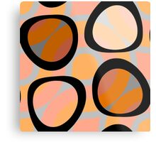 Nouveau Retro Graphic Orange Brown and Peach Metal Print