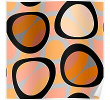 Nouveau Retro Graphic Orange Brown and Peach Poster