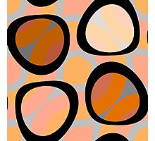 Nouveau Retro Graphic Orange Brown and Peach Photographic Print