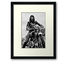 Girl on a Motorcycle Framed Print