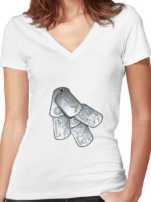 battlefield dogtags Women's Fitted V-Neck T-Shirt
