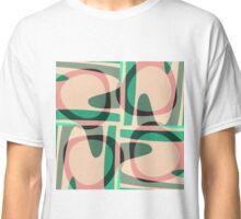 Nouveau Retro Graphic Green and Peach Classic T-Shirt