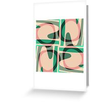 Nouveau Retro Graphic Green and Peach Greeting Card
