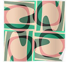 Nouveau Retro Graphic Green and Peach Poster
