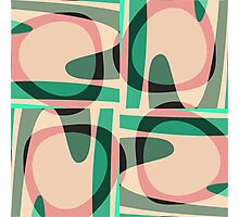 Nouveau Retro Graphic Green and Peach Photographic Print