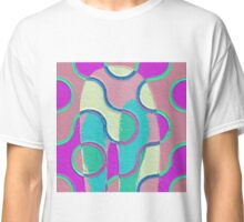 Nouveau Retro Graphic Teal Yellow Purple Textured Classic T-Shirt