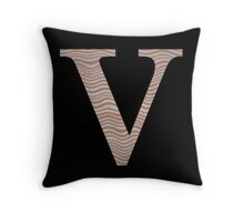 Letter V Metallic Look Stripes Silver Gold Copper Throw Pillow