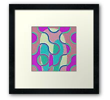Nouveau Retro Graphic Teal Yellow Purple Textured Framed Print