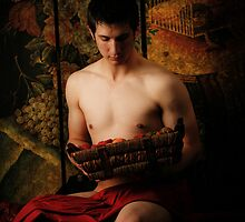 Corey with basket of fruit by Terry J Cyr