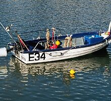 Skiff At Lyme Regis Harbour by Susie Peek