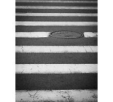 Crosswalk with Manhole Photographic Print