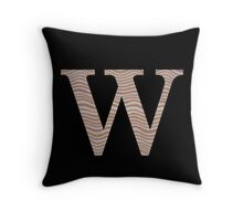 Letter W Metallic Look Stripes Silver Gold Copper Throw Pillow