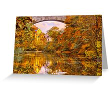 Fall at Upper Falls, Massachusetts. Echo Bridge Greeting Card