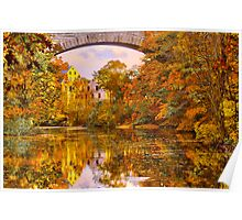 Fall at Upper Falls, Massachusetts. Echo Bridge Poster