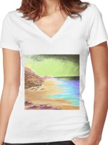 Beach Impression  Women's Fitted V-Neck T-Shirt