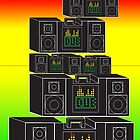 Dub- Boombox Collage With Gradient Background by impulsiVdesigns