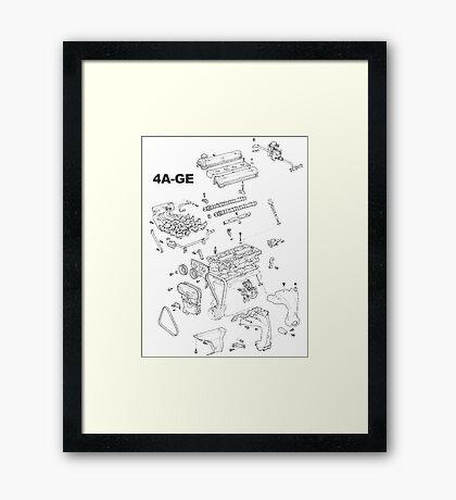 4A-GE Engine Diagram (Bright Colors) Framed Print
