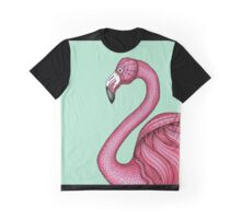 Pink Flamingo on Turquoise Background Graphic T-Shirt
