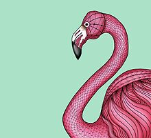 Pink Flamingo on Turquoise Background by JennyGollan