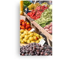 Fresh Organic Fruits and Vegetables At A Street Market Metal Print