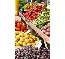 Fresh Organic Fruits and Vegetables At A Street Market Photographic Print