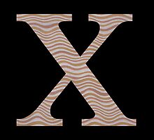 Letter X Metallic Look Stripes Silver Gold Copper by theartofvikki