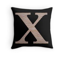 Letter X Metallic Look Stripes Silver Gold Copper Throw Pillow