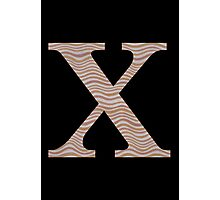 Letter X Metallic Look Stripes Silver Gold Copper Photographic Print