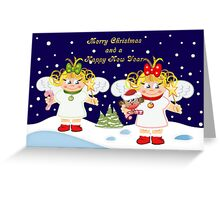Cute Angels Christmas card Greeting Card