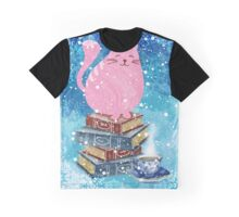 Bookish Cat in Winter Graphic T-Shirt