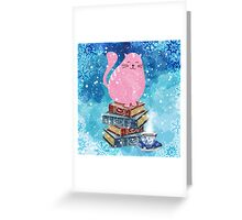 Bookish Cat in Winter Greeting Card